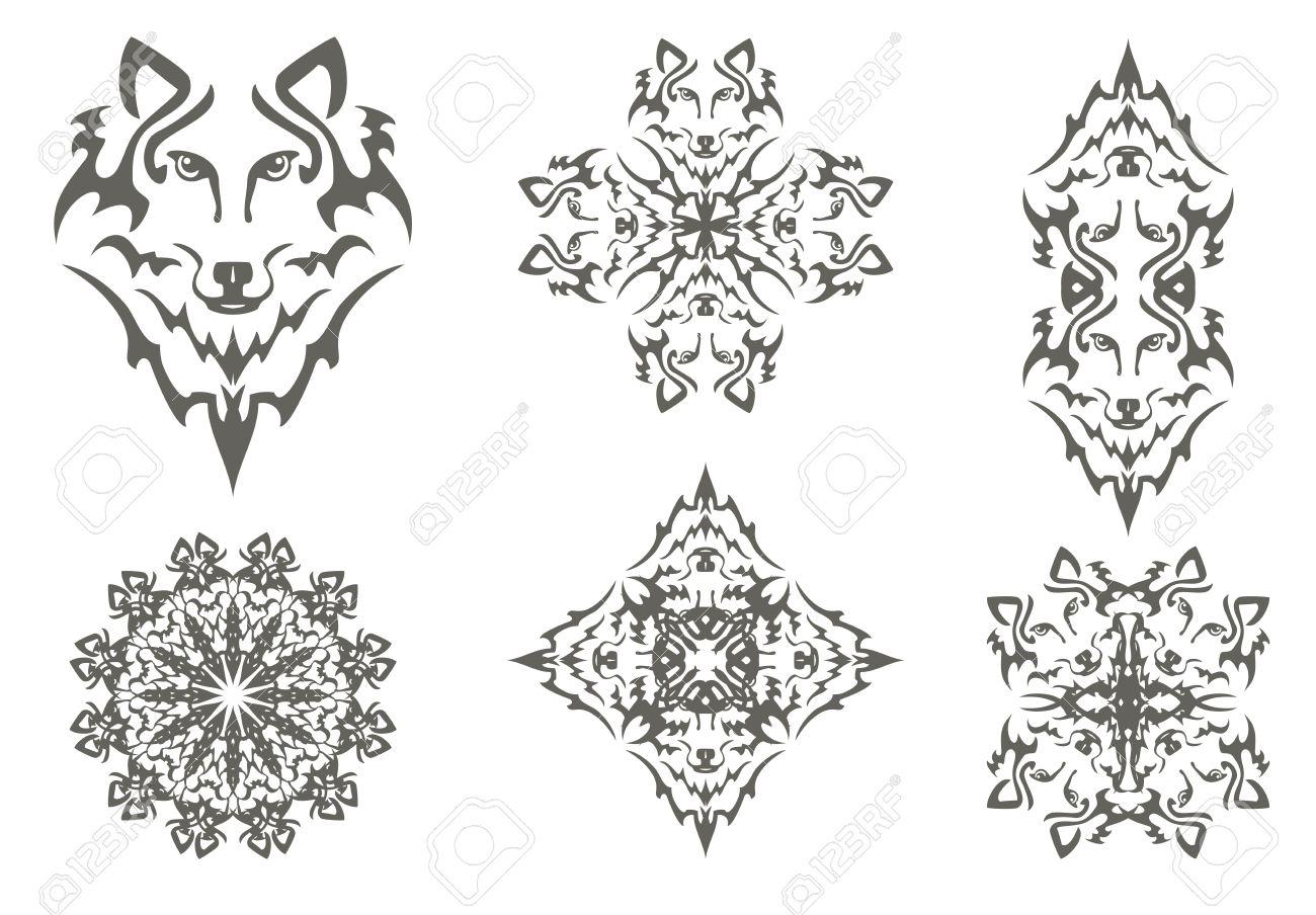 Símbolos Tribales Lobo La Cabeza De Un Lobo Un Lobo De Cruz Flor