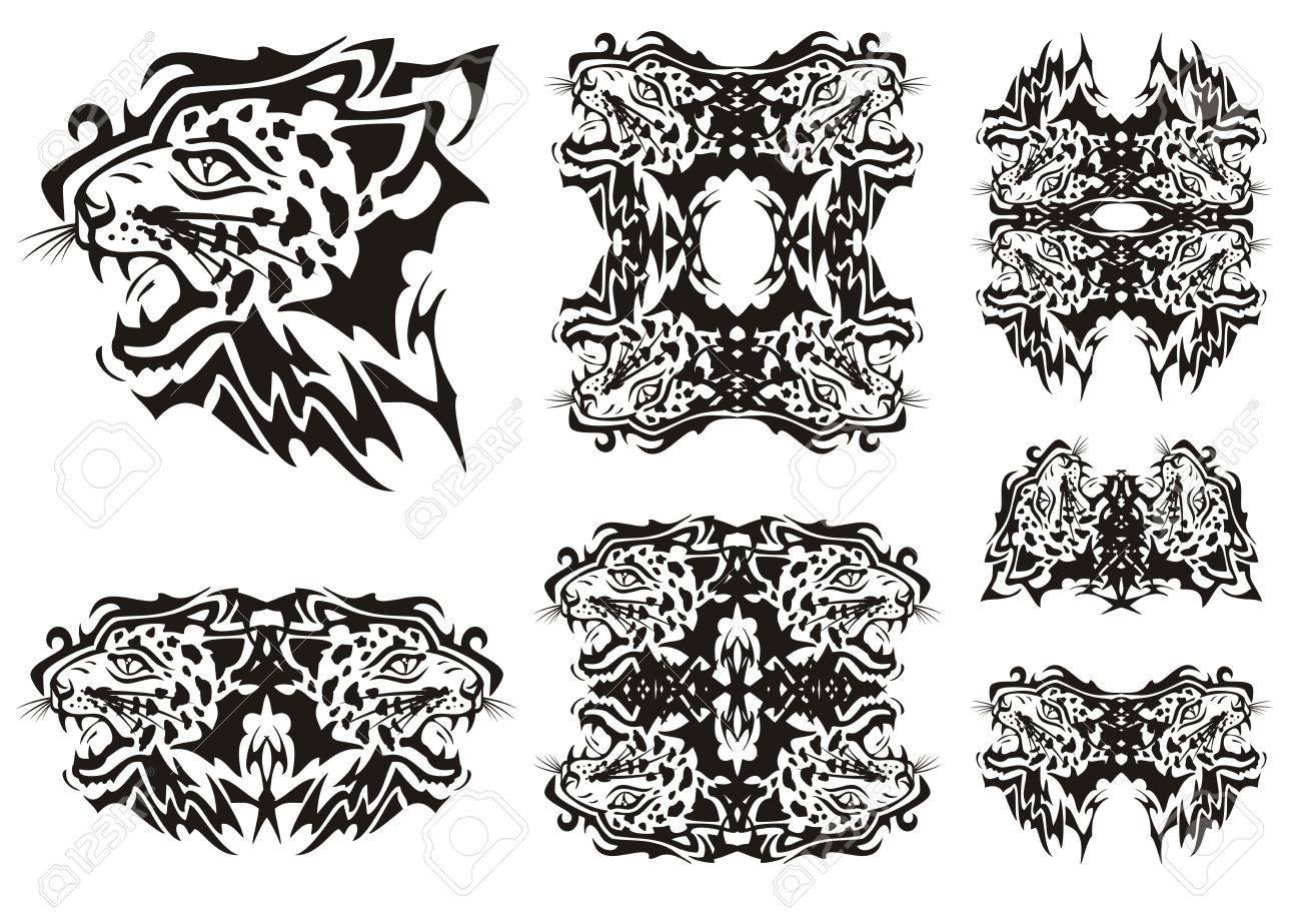 Tribal Leopard Symbols. Tribal Furious Leopards Heads Symbols ...
