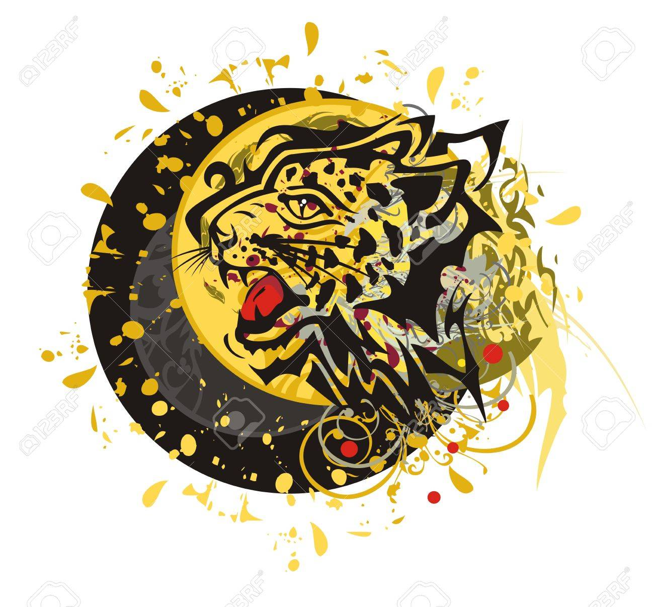 9e95dec7f Grunge tribal leopard circle. Tribal furious leopard head splashes with  blood drops against the decorative sun ready for a tattoo, graphics on the  vehicle, ...