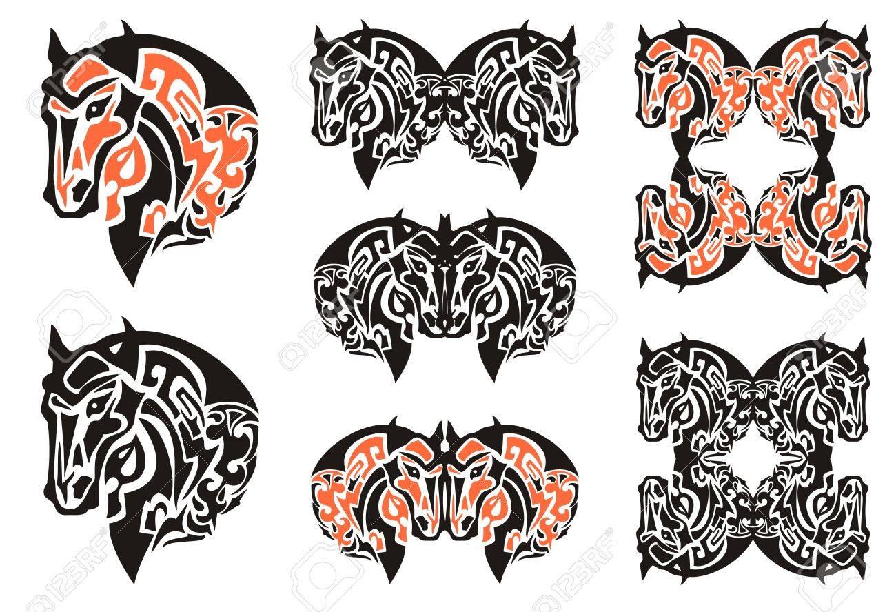 Cabeza De Caballo Del Estilo Del Diseño Del Haida. Conjunto De ...