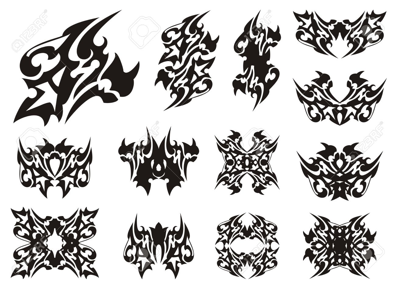 Tribal Gehörnten Kulminierte Drachen Symbole. Gefährliche ...