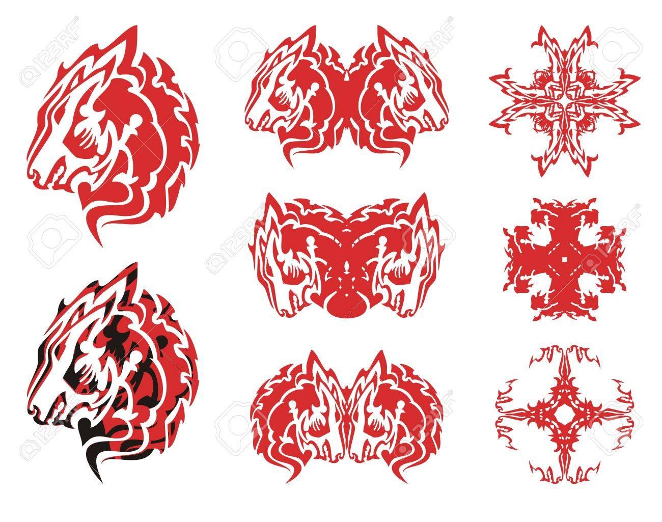 Símbolos De Cabeza De Lobo Rojo Y Cruces De Ella Tribales