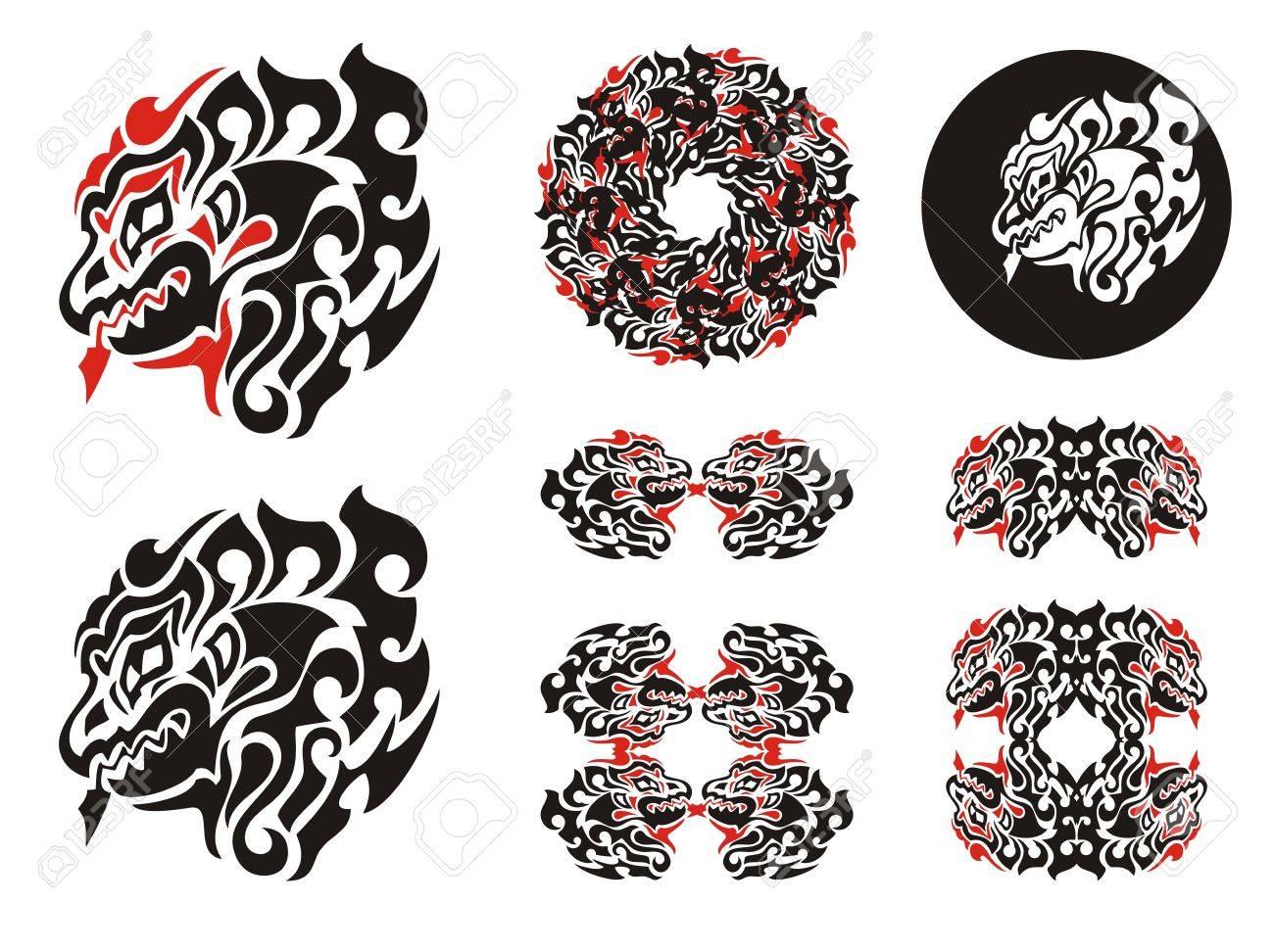 Fiery Dragon Head Design. Haida Dragon Style Tattoo, Dragon Frames ...