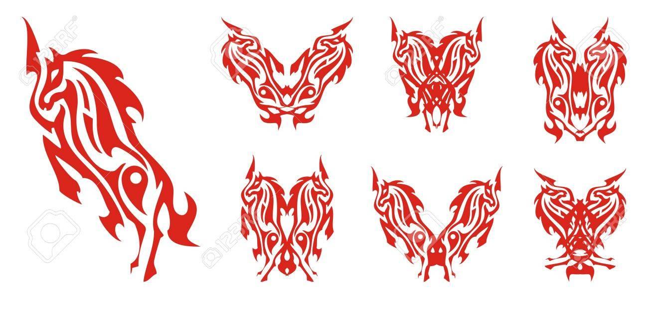 Pferde Symbole Im Feuer Form. Doppel Flammend Pferd Symbole Für Ihr ...