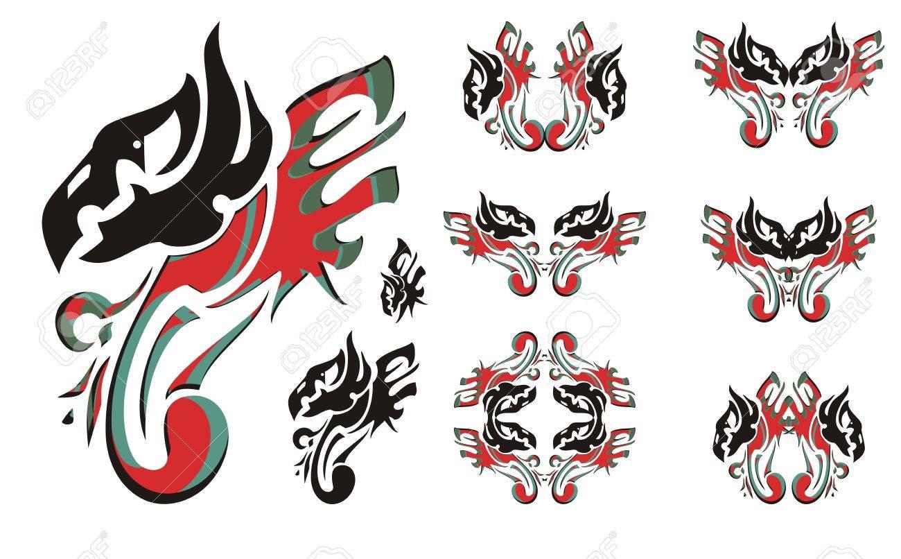 Guila Símbolos Tribales En Colores Rojo Negro Y Verde águila De