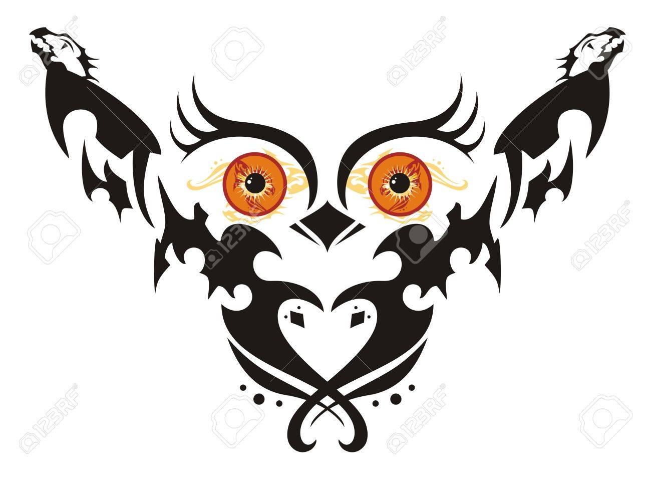 Buho Con Grandes Ojos Naranjas Fantastico Buho En Vuelo Con Alas En
