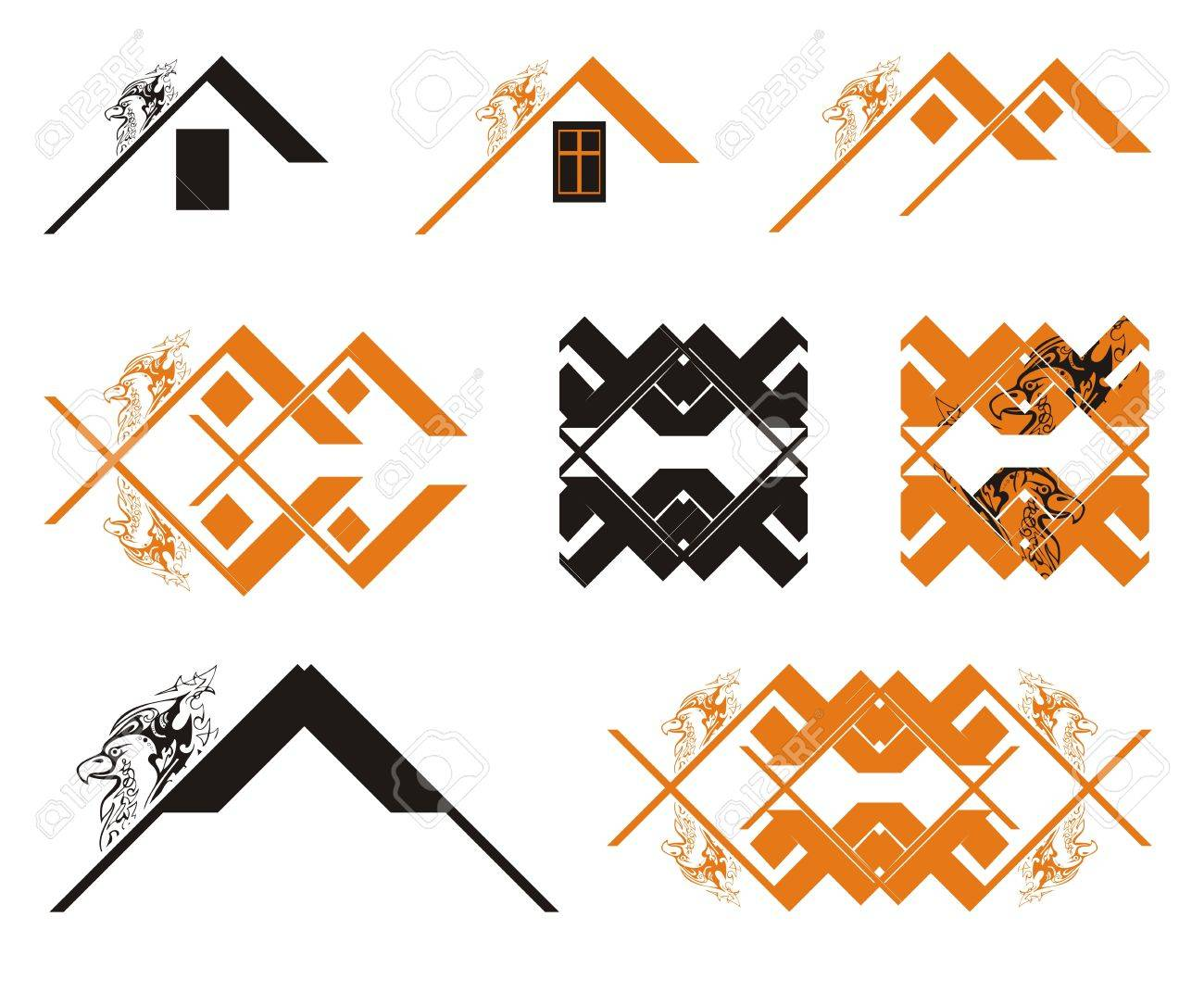 Black And Orange Eagle House Concept The Decorative Symbols