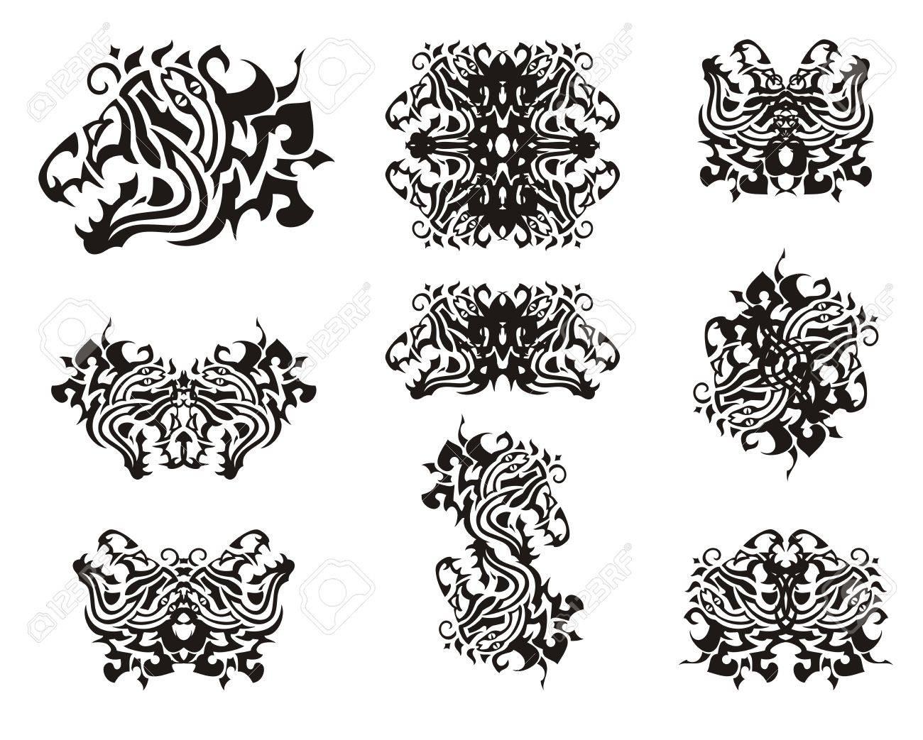 Símbolos Tribales De Cabezas De Dragón Tribales Peligrosa Cabeza De