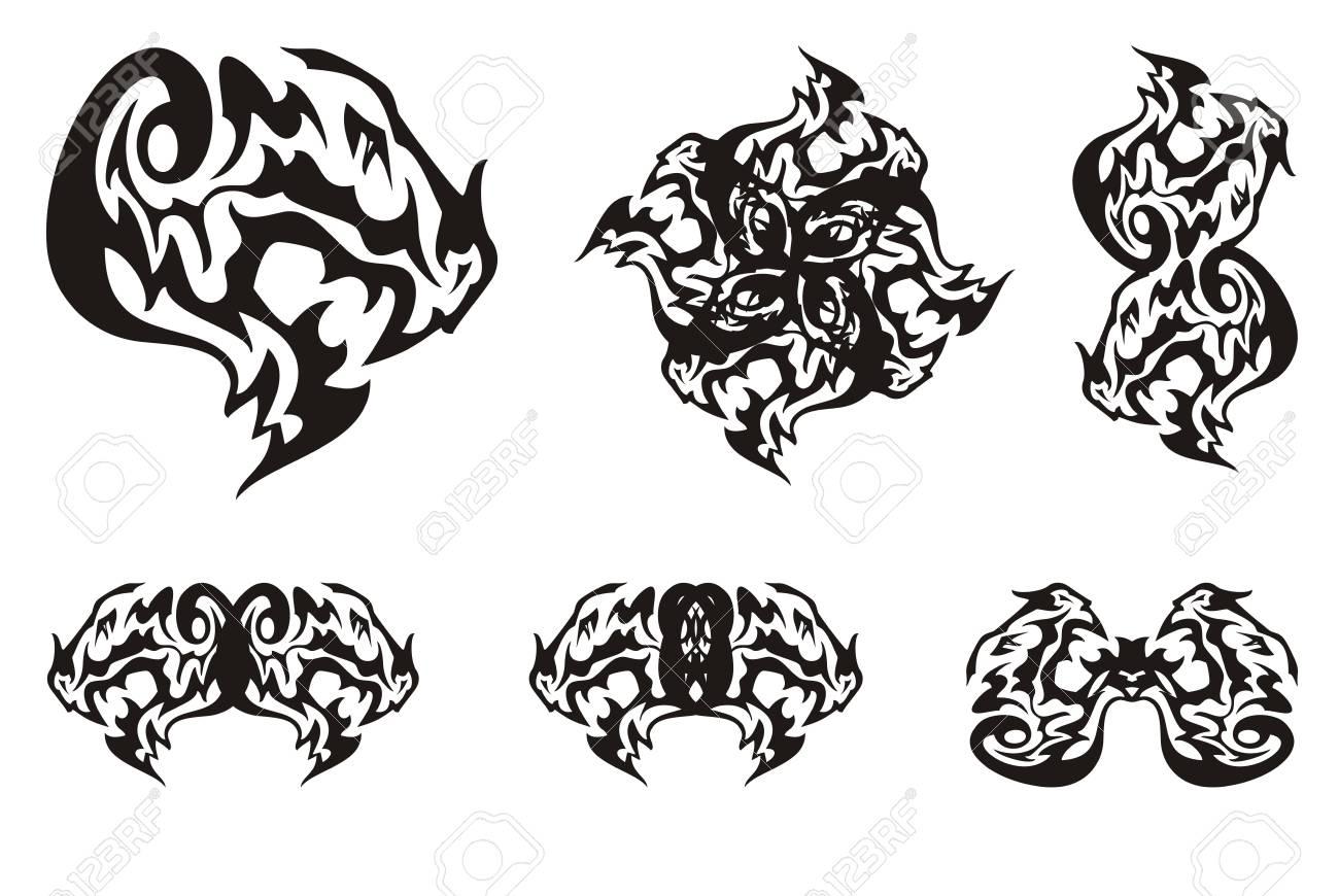 Dragon head symbols in tribal style terrible dragon head with dragon head symbols in tribal style terrible dragon head with an open jaw and double buycottarizona Gallery