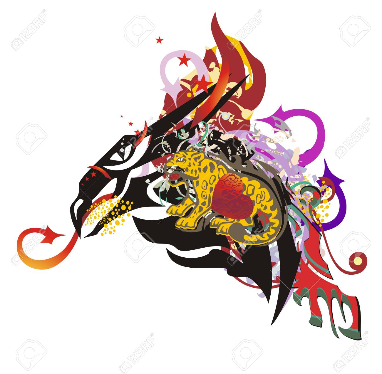 Flaming Dragon Head Symbol In Grunge Style Peaked Dragon With