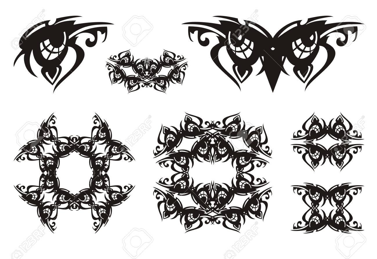 Ojo Tribal, Ojos De Búho Y Símbolos Ornamentales De él. Símbolo De ...