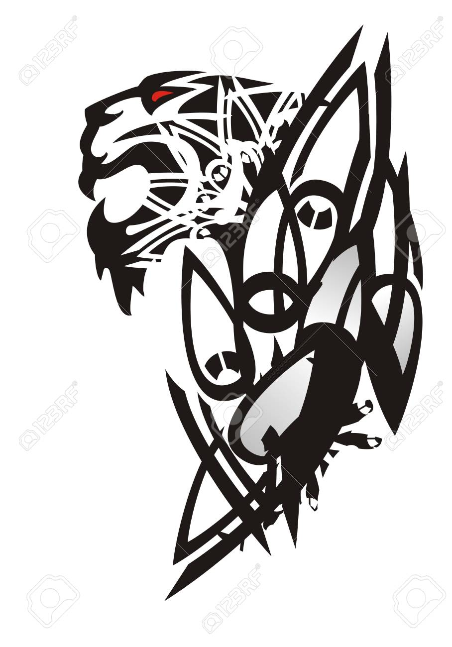 Tribal Tiger Head Pattern Tattoo Of The Growling Tiger With