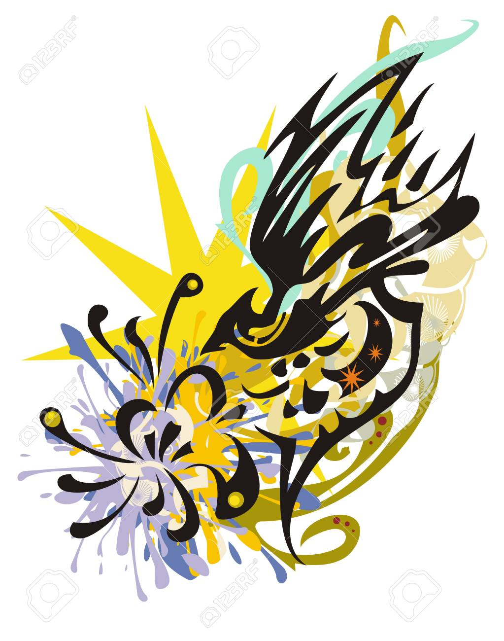 Grunge Abstract Fantasy Flying Bird Splashes With A Flower Tribal