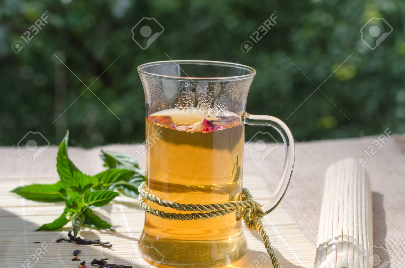 Green Tea With Goji Berries And Mint Stock Photo Picture And