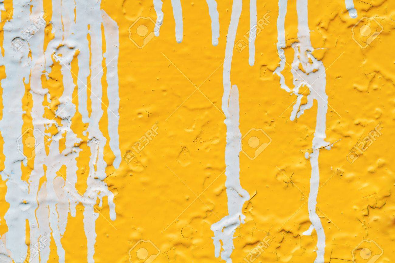 Streaks Of White Paint On A Yellow Wall Stock Photo, Picture And ...