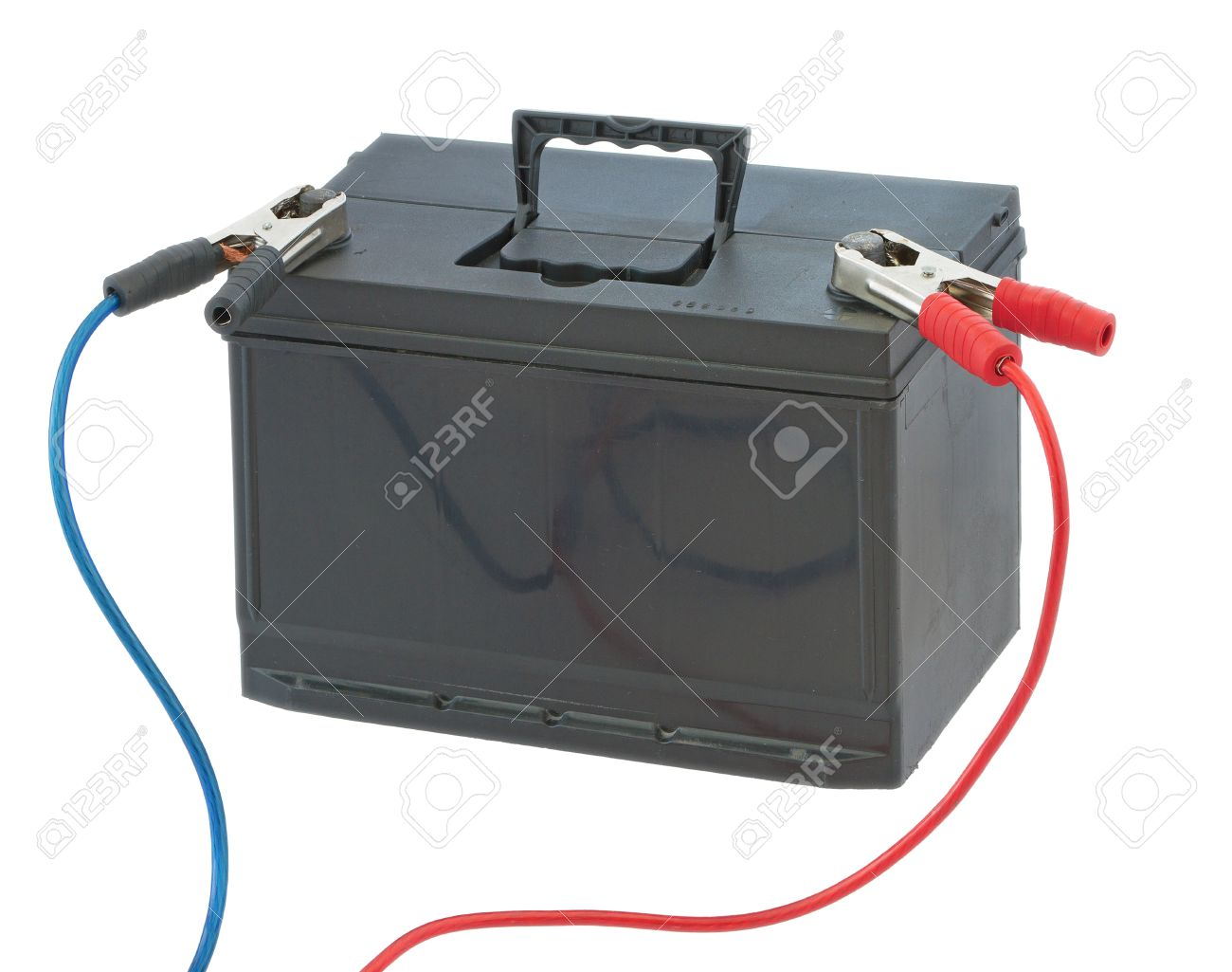 Car Battery And Cables With Both Positive And Negative Isolated ...
