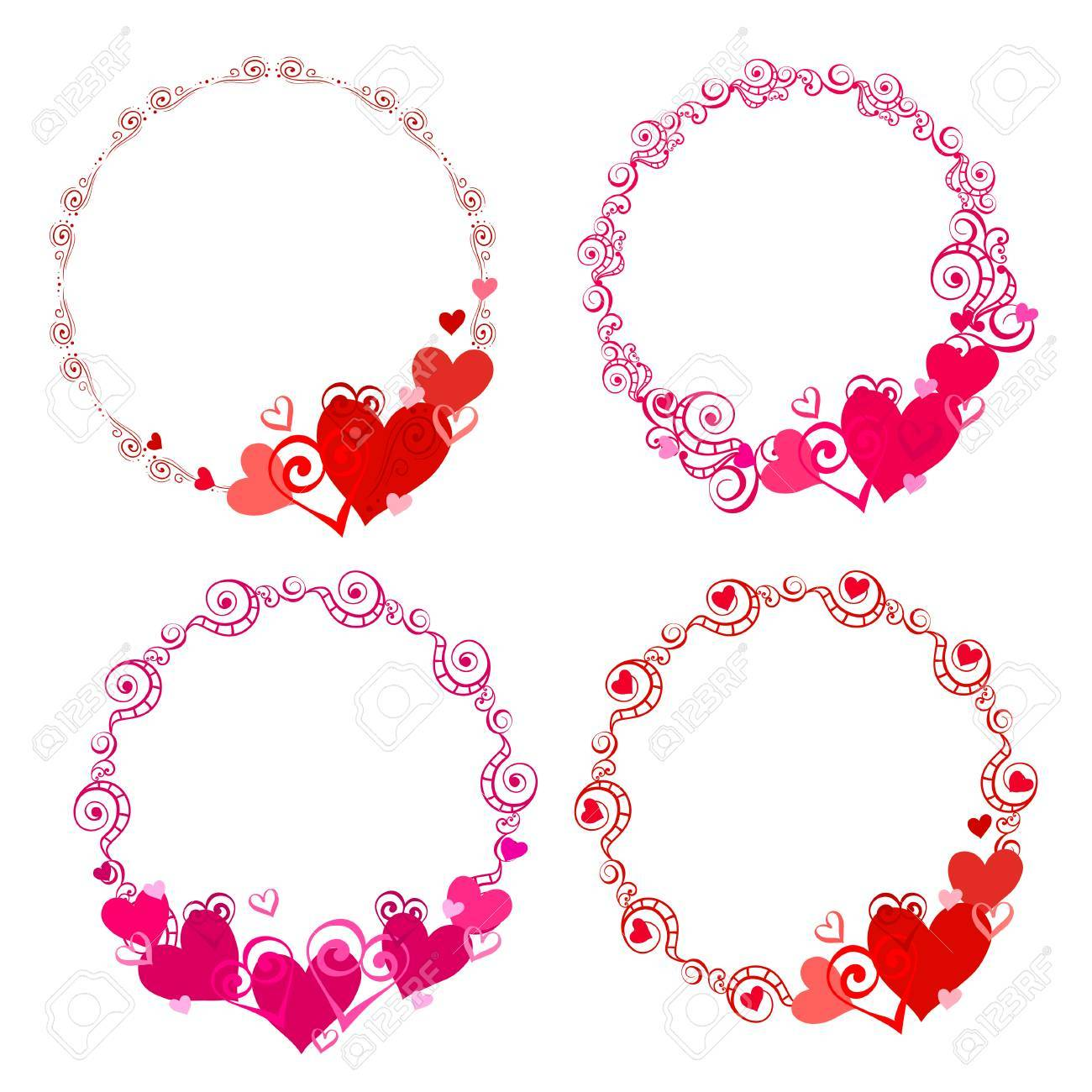 Vector Frames With Hearts For Greeting Cards Invitations Posters