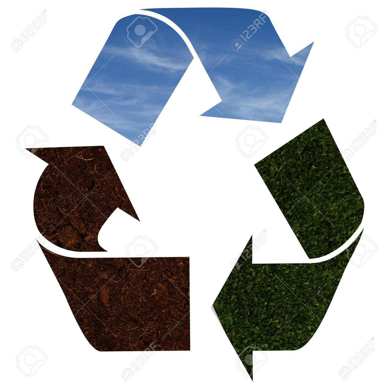 Recycle Icon With Blue Sky Green Grass And Soil Texture