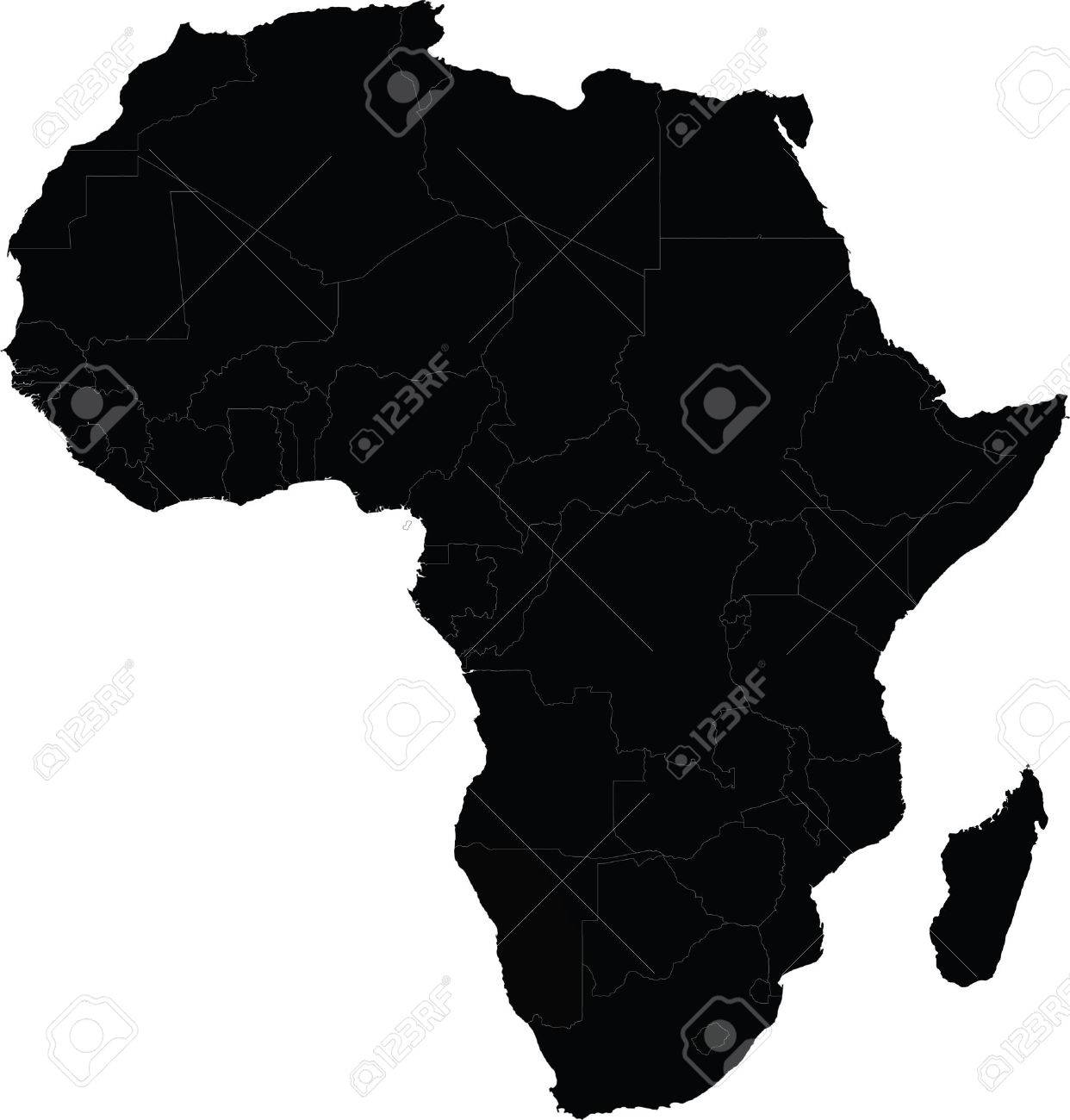 Map of Africa vector with country borders Outer Outline Of African Map With Arabian Peninsula on