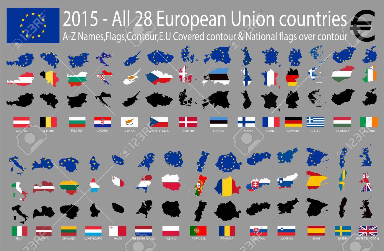 2015 All 28 European Union Countries A Z Names Flags Contour E U
