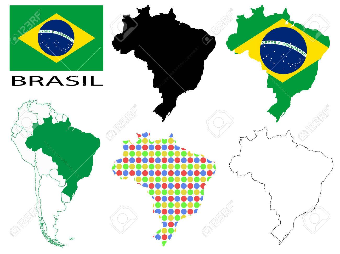 Brazil Flag Four Vector Map Contours And South America Map - South america map and flags