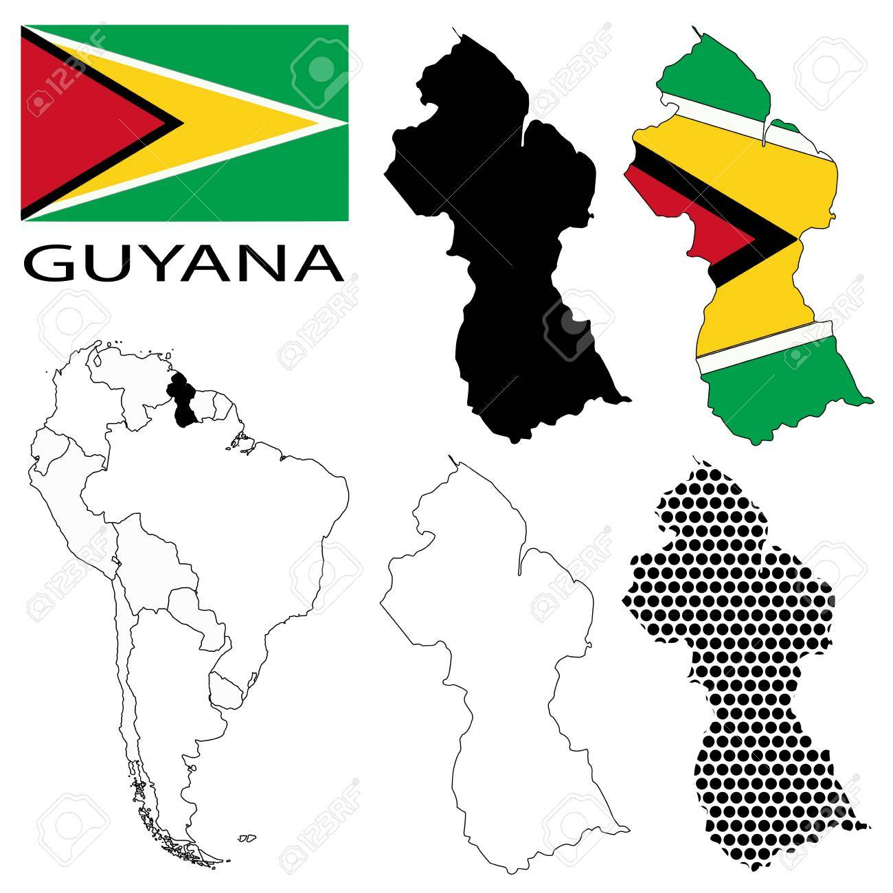 Guyana - Flag, Four Vector Map Contours And South America Map ...