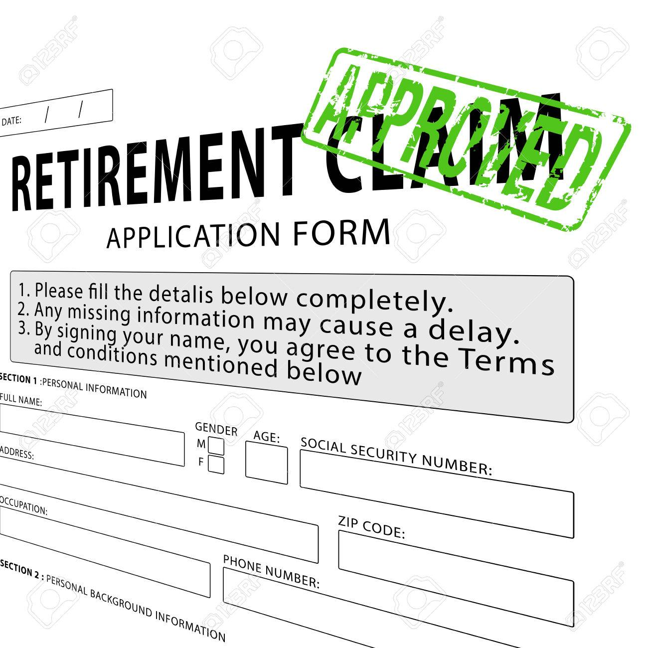 Retirement Claim Application Form With Green Approved Rubber ...