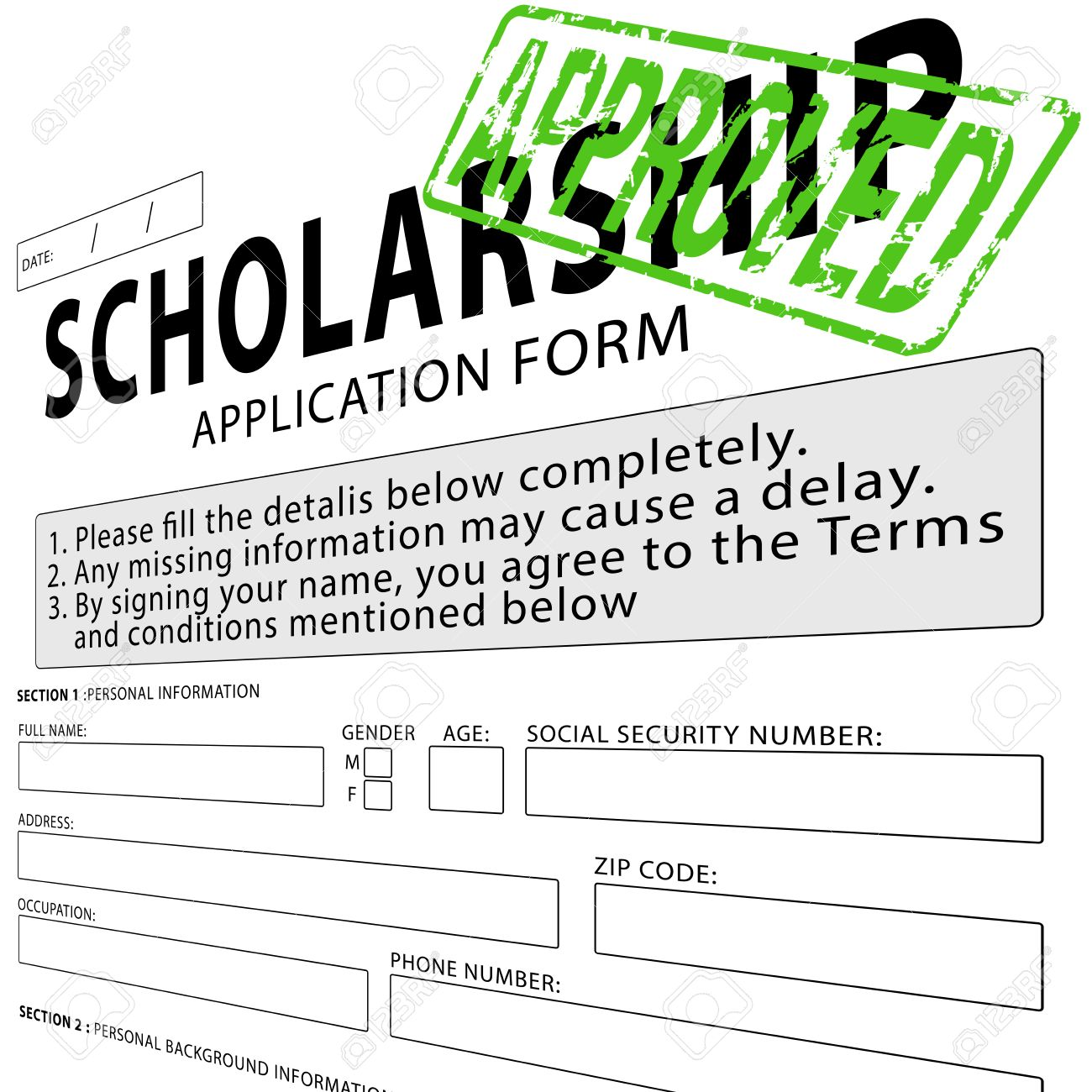 Scholarship Application Form With Green Approved Rubber Stamp Stock Photo    38116550