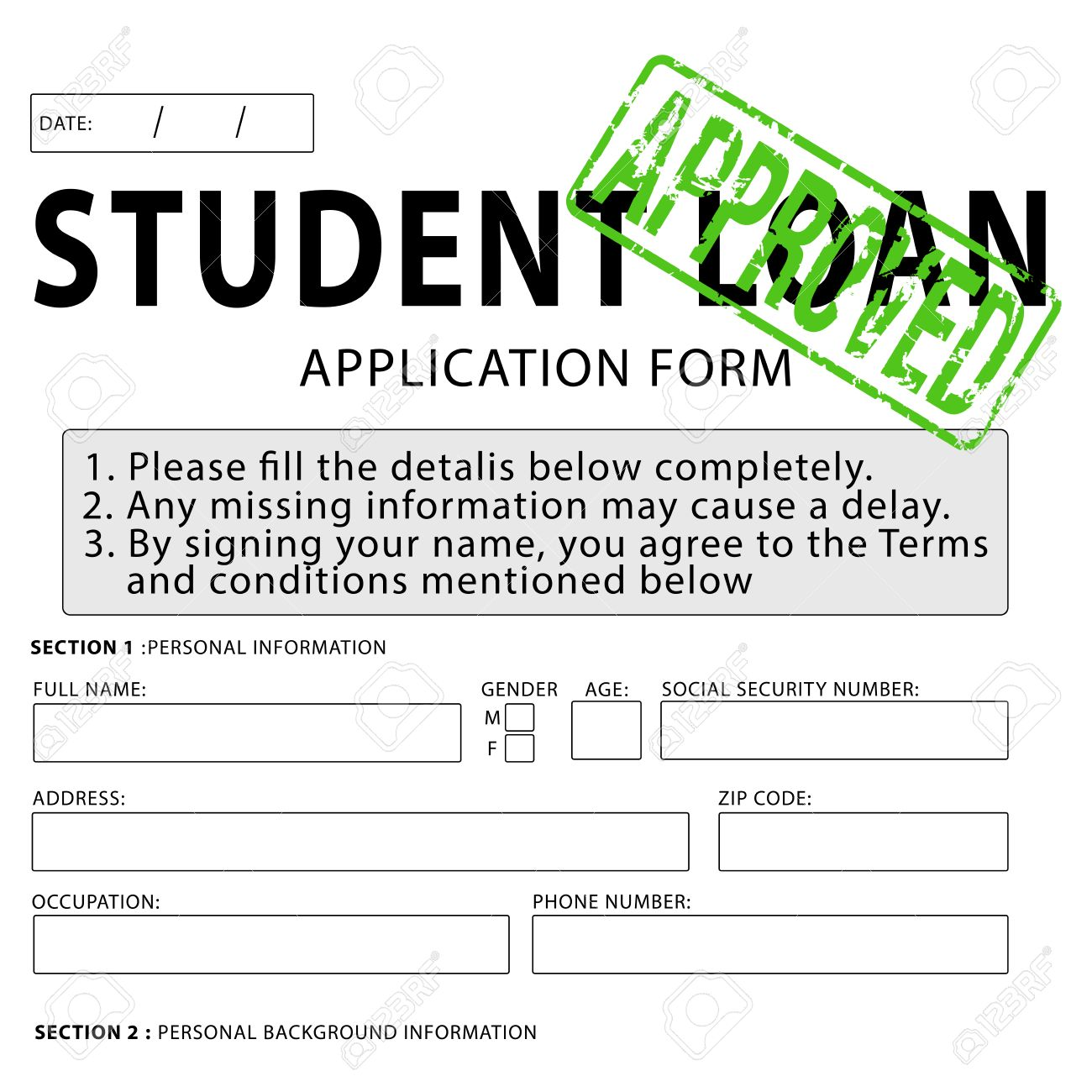 Marvelous Student Loan Application Form With Green Approved Rubber Stamp Stock Photo    38116674