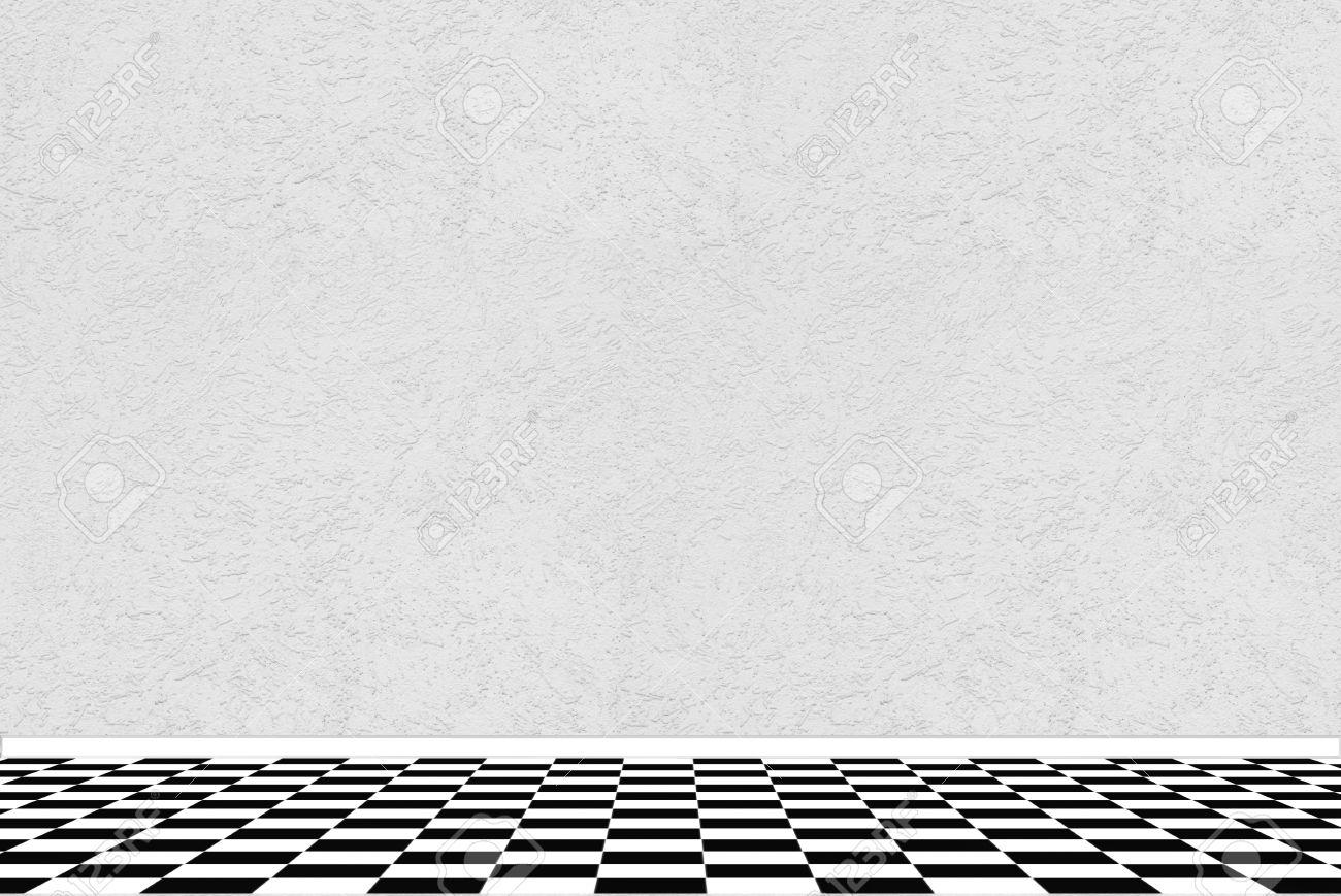 Fußboden Fliesen Schwarz Weiß ~ Strukturierte weiße wand mit schwarz weiß karierte bodenfliesen