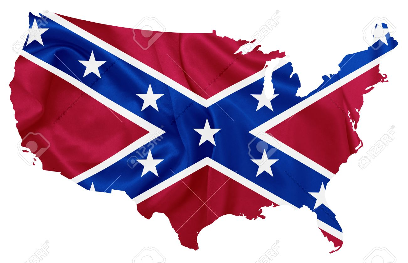 Confederate Flag Over U S Map Contour Stock Photo Picture And