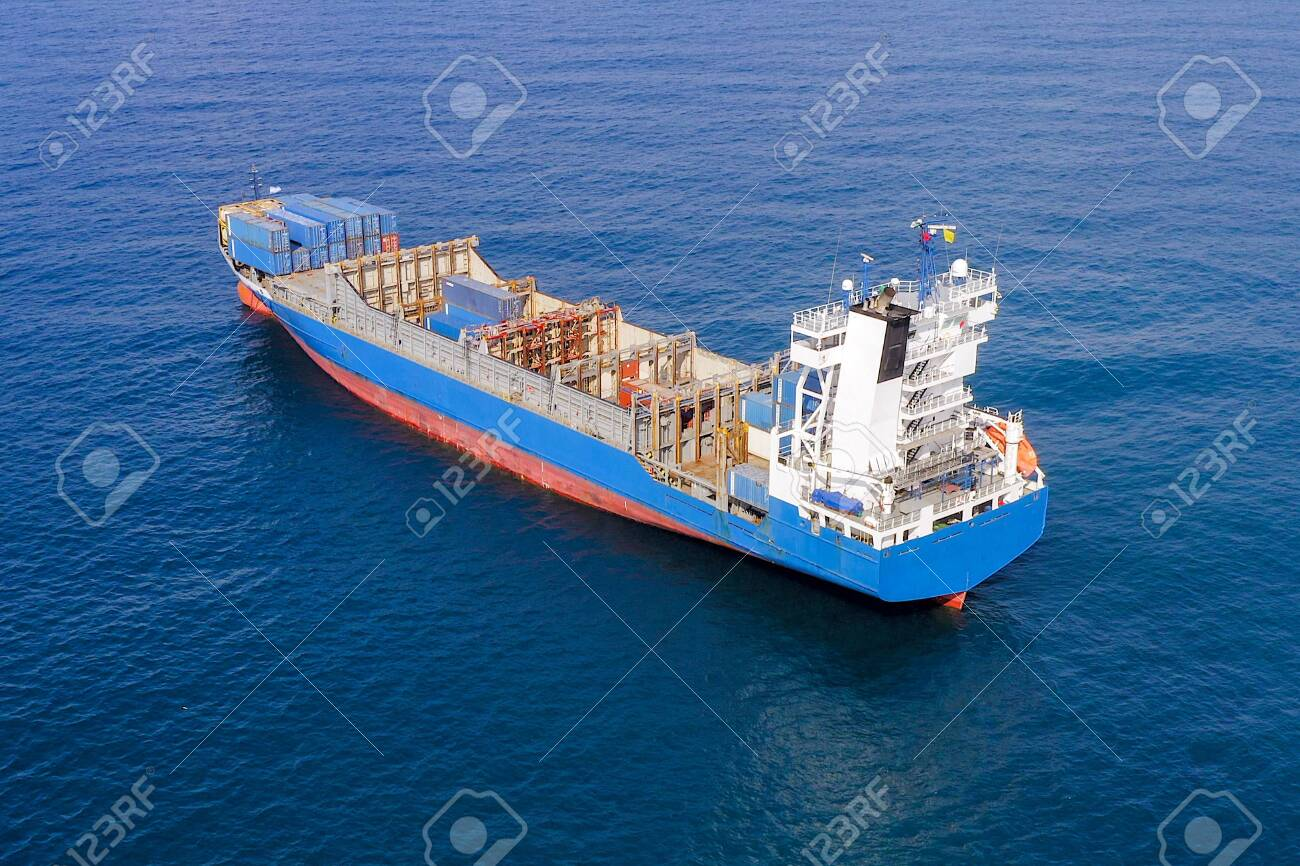 Large container ship at sea, Aerial image. - 140273602