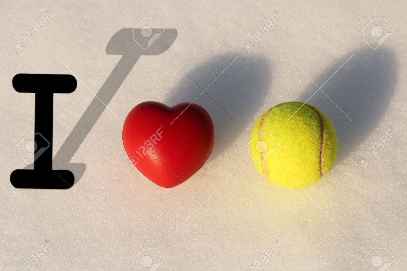 I love tennis with snow background Stock Photo - 18504775