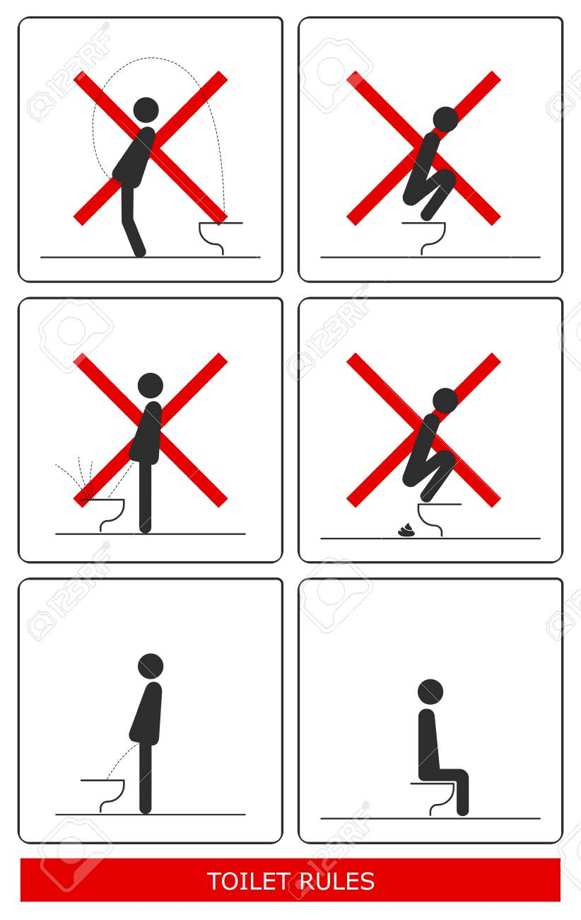 WC Toilet hygiene  Set of sign and symbol of toilet rules, poster,