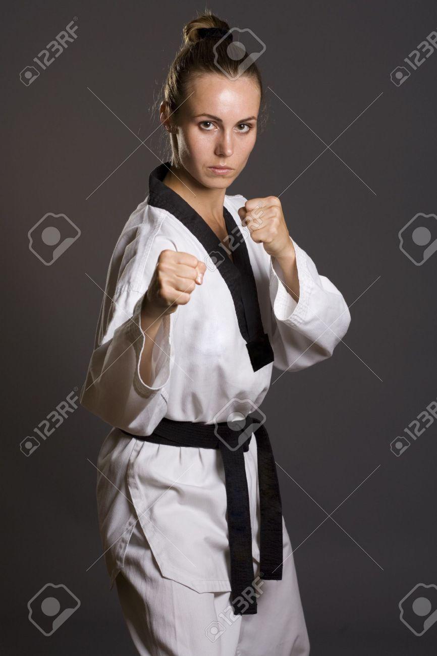 girl in white kimono ready to fight Stock Photo - 4677132