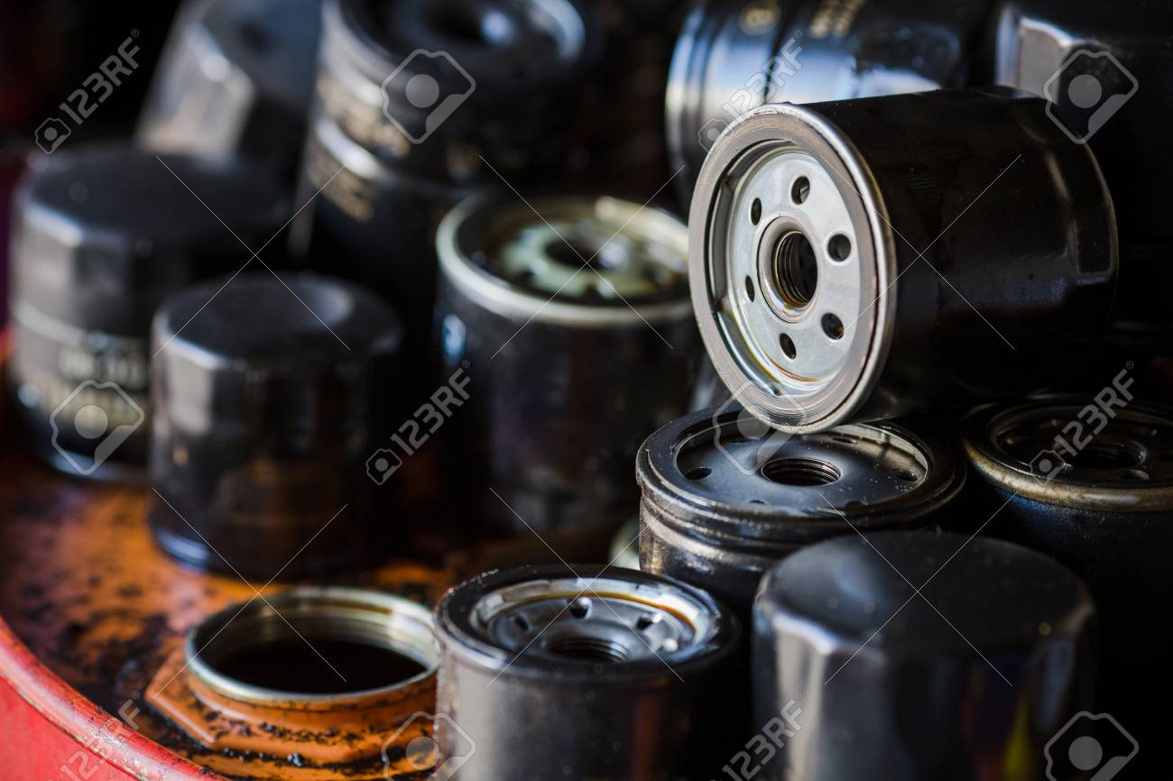 Picture Of Old Car Oil Filters Represented In Automobile Service Fuel For Diesel Engines Center