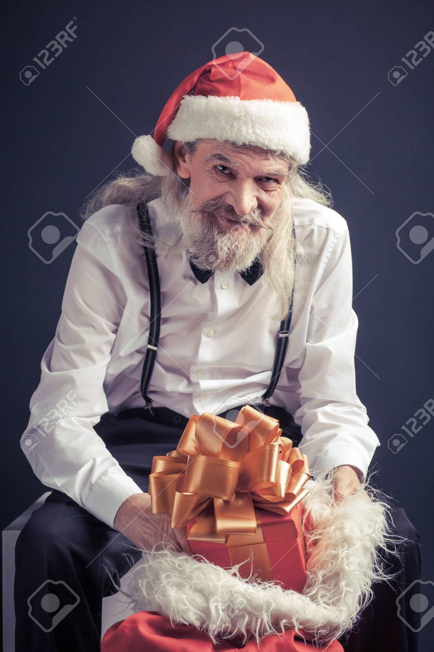 Office Santa With Bag Full Of Gifts. Old Man In Santa Hat With ...