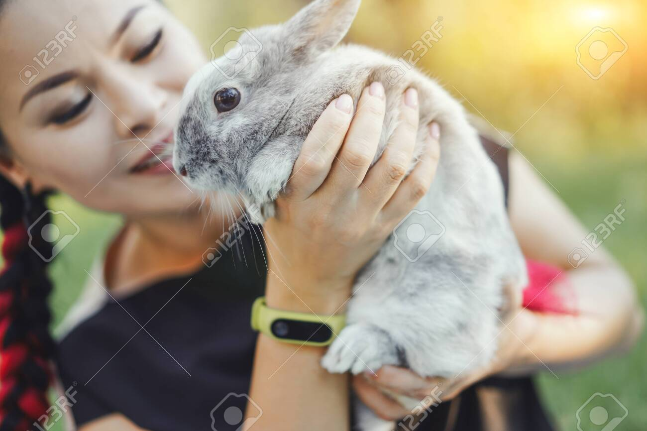 Close-up of Pretty Asian Hugging Bunny on Summer Nature - 123375135