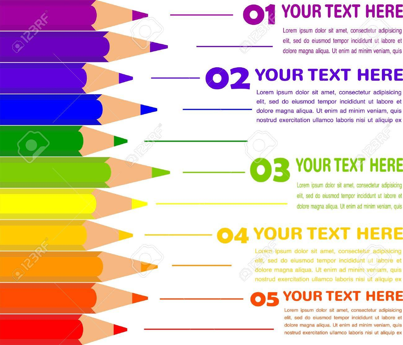 infographics with colorful pencils Stock Vector - 20080762