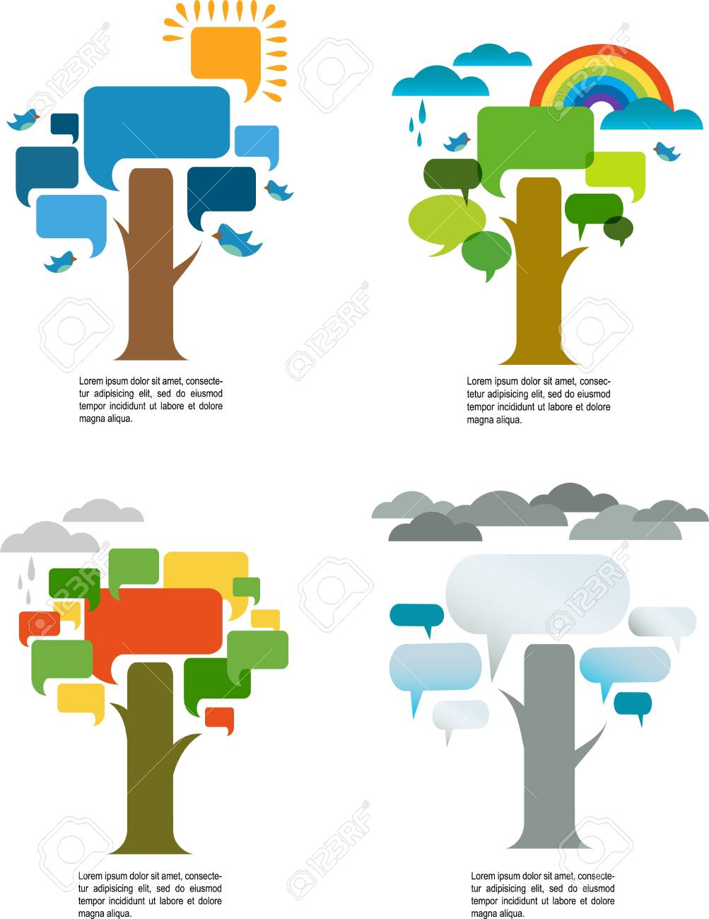 four seasons with four speech trees Stock Vector - 21953220
