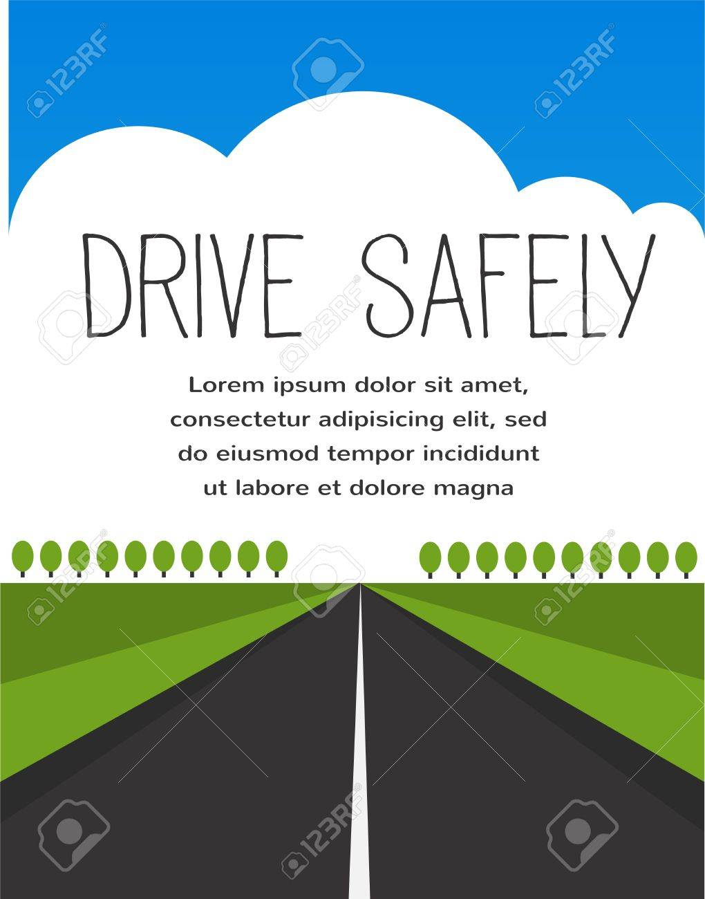 drive safe, long empty road Stock Vector - 22140222