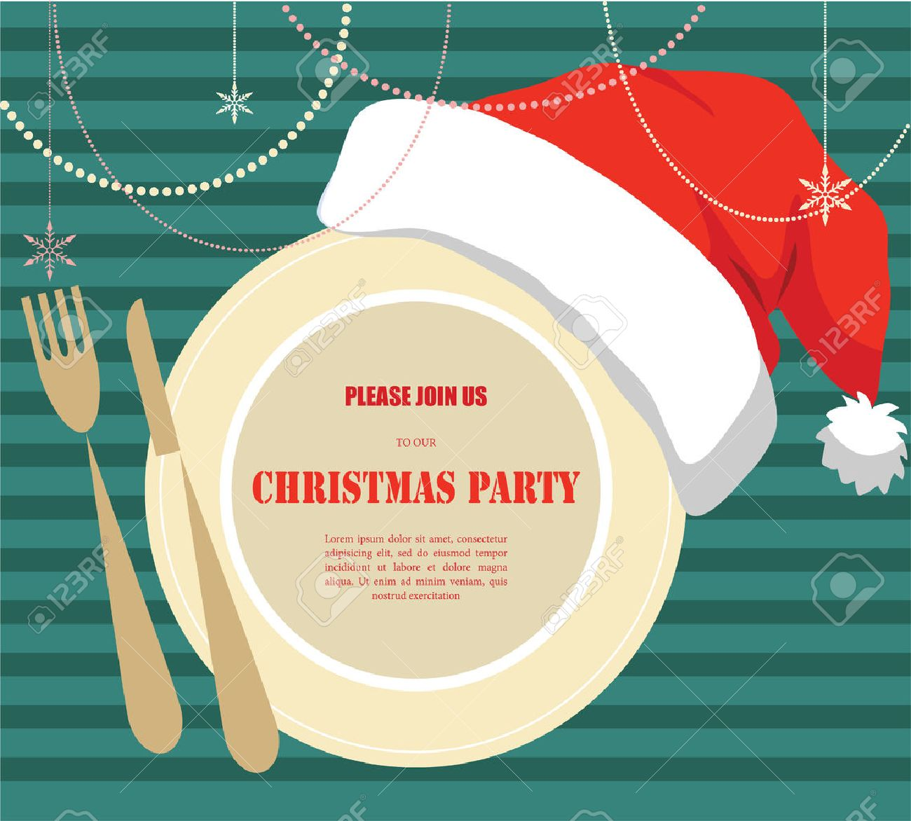 Christmas Party Invitation, Plate With Christmas Hat Royalty Free ...