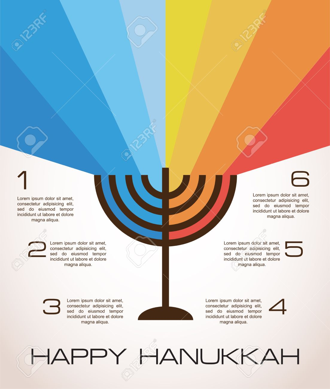 hanukkah infographics hanukkah menorah with rainbow lights royalty rh 123rf com Hanukkah Menorah Menorah Clip Art