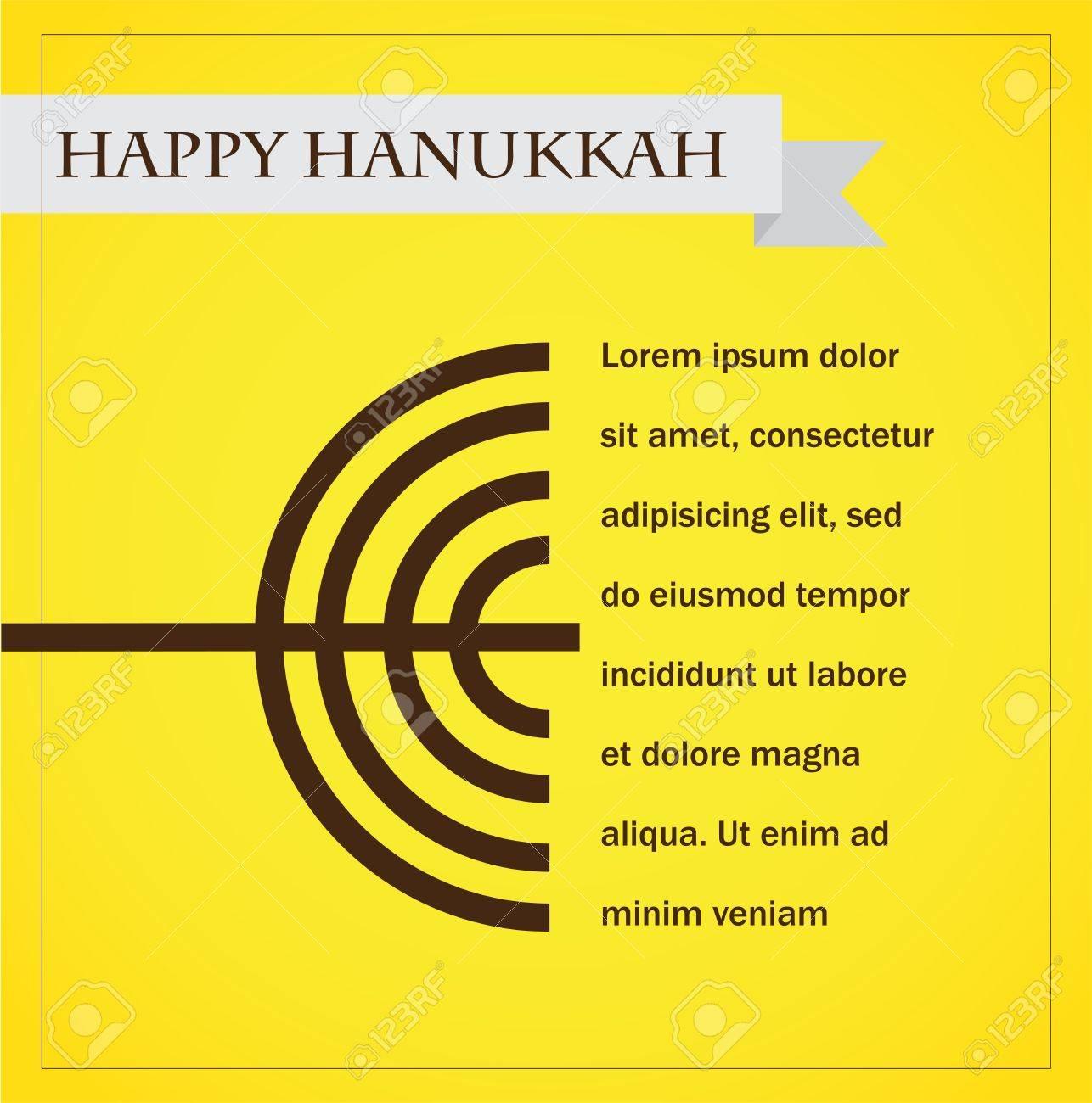 hanukka menorah on yellow  happy hanukkah  infographics Stock Vector - 23468852