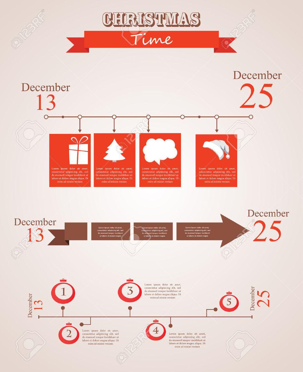 Tres Plantillas De Línea De Tiempo En Tiempo De Navidad. Feliz Año ...