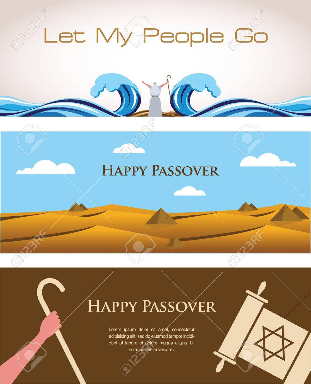 three banners of passover jewish holiday happy pesach royalty