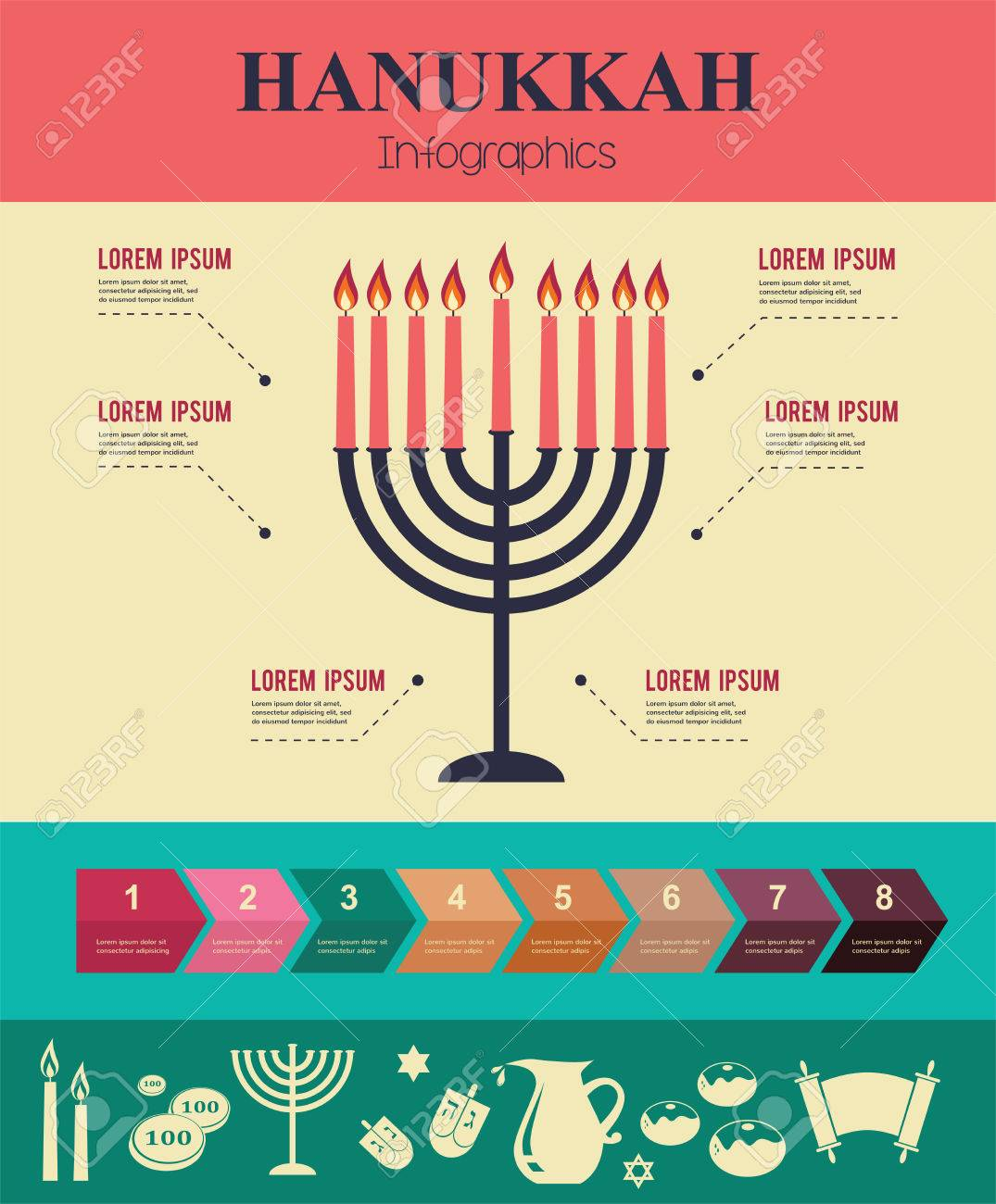 Vector infographics of famous symbols for the jewish holiday vector infographics of famous symbols for the jewish holiday hanukkah stock vector 32519317 buycottarizona Images