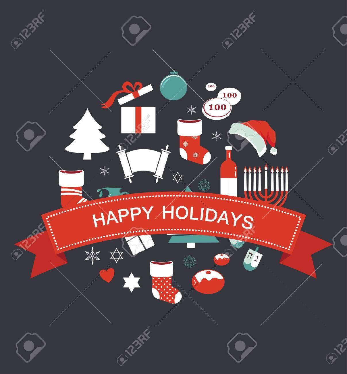 Hanukkah Christmas Stocking.Merry Christmas And Happy Hanukkah