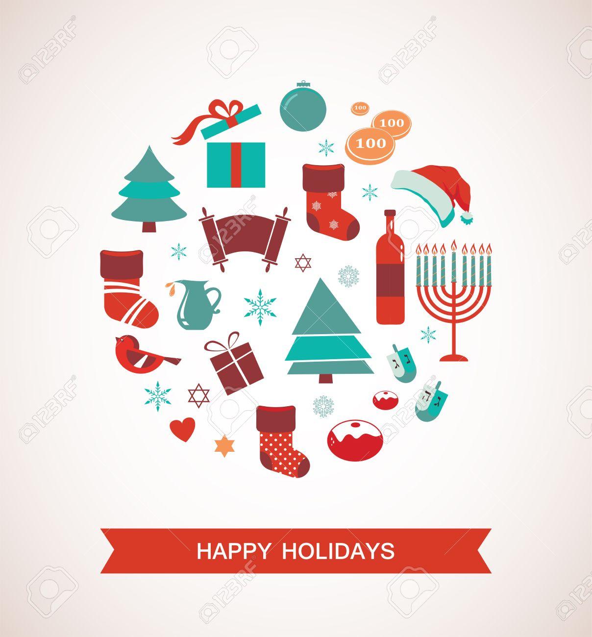 Christmas Hannakah.Merry Christmas And Happy Hanukkah