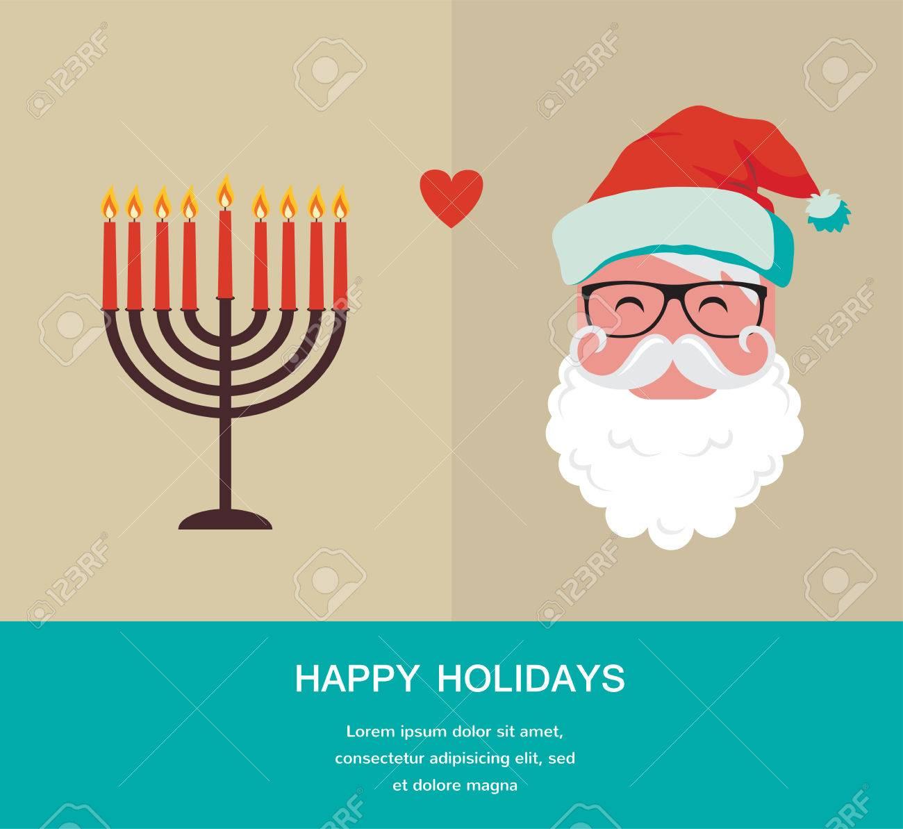 Happy Hanukkah And Happy Holidays, Jewish Holiday Menorah And ...